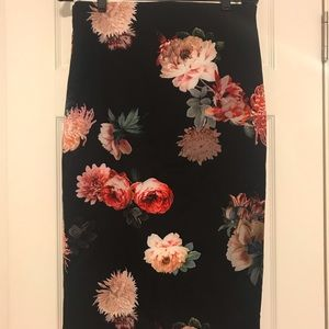 Zara Flora Midi Pencil Skirt